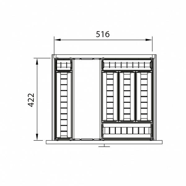 DIVISOR DE TALHERES INOX - 516 x 450MM
